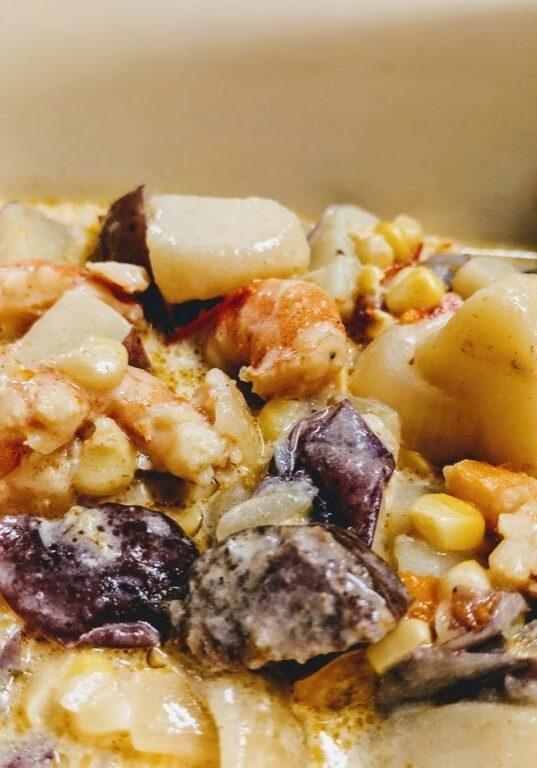 Crockpot Express Corn Chowder w Shrimp Sausage